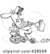 Royalty Free RF Clip Art Illustration Of A Cartoon Black And White Outline Design Of A Black Businessman Riding A Trike To Work by toonaday