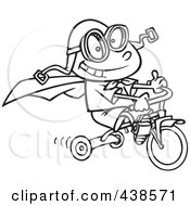 Royalty Free RF Clip Art Illustration Of A Cartoon Black And White Outline Design Of A Boy Wearing A Cape And Goggles While Riding His Trike by toonaday