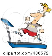 Royalty Free RF Clip Art Illustration Of A Cartoon Man Sprinting On A Treadmill by Ron Leishman