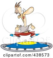 Royalty Free RF Clip Art Illustration Of A Cartoon Man Jumping On A Trampoline by toonaday