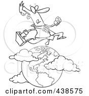 Royalty Free RF Clip Art Illustration Of A Cartoon Black And White Outline Design Of A Traveling Salesman Leaping Over The Globe
