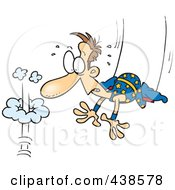 Royalty Free RF Clip Art Illustration Of A Cartoon Trapeze Artist Failing To Grab His Partner