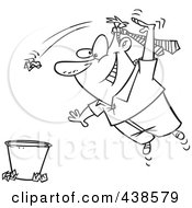 Royalty Free RF Clip Art Illustration Of A Cartoon Black And White Outline Design Of A Man Wearing A Tie On His Head And Tossing Trash