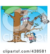Royalty Free RF Clip Art Illustration Of A Cartoon Boy Playing Near His Pirate Tree House by Ron Leishman
