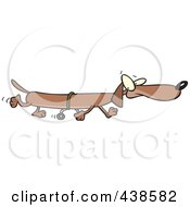 Royalty Free RF Clip Art Illustration Of A Long Cartoon Wiener Dog Using Training Wheels