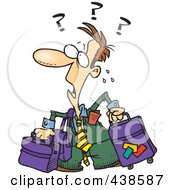 Royalty Free RF Clip Art Illustration Of A Confused Cartoon Businessman With Luggage by toonaday