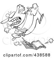 Royalty Free RF Clip Art Illustration Of A Cartoon Black And White Outline Design Of A Frustrated Businessman Trampling A Laptop Computer