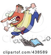 Royalty Free RF Clip Art Illustration Of A Frustrated Cartoon Businessman Trampling A Laptop Computer