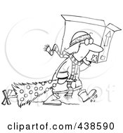 Royalty Free RF Clip Art Illustration Of A Cartoon Black And White Outline Design Of A Woman Carrying A Moving Box And Dragging Her Christmas Tree by toonaday