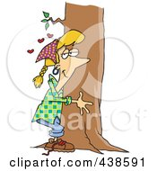 Cartoon Hippie Woman Hugging A Tree
