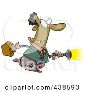 Royalty Free RF Clip Art Illustration Of A Cartoon Black Man Shining A Flashlight Ahead