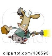 Royalty Free RF Clip Art Illustration Of A Cartoon Black Man Shining A Flashlight Ahead by toonaday
