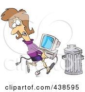 Royalty Free RF Clip Art Illustration Of A Cartoon Businesswoman Throwing Away A Broken Computer