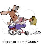 Cartoon Black Businessman Riding A Trike To Work