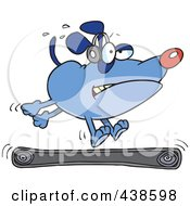 Royalty Free RF Clip Art Illustration Of A Blue Cartoon Dog Running On A Treadmill by toonaday