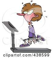 Royalty Free RF Clip Art Illustration Of A Cartoon Woman Jogging On A Treadmill