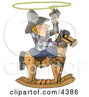 Young Cowboy Practicing The Are Of Lassoing On The Back Of A Rocking Horse Clipart