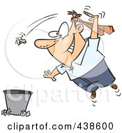 Royalty Free RF Clip Art Illustration Of A Cartoon Man Wearing A Tie On His Head And Tossing Trash by toonaday