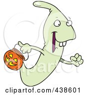 Royalty Free RF Clip Art Illustration Of A Cartoon Ghoul Out Trick Or Treating On Halloween by toonaday