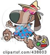 Royalty Free RF Clip Art Illustration Of A Cartoon Traveling Dog Carrying Luggage by toonaday
