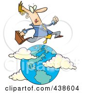 Royalty Free RF Clip Art Illustration Of A Cartoon Traveling Salesman Leaping Over The Globe by toonaday