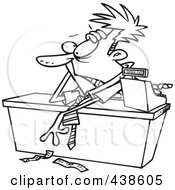 Cartoon Black And White Outline Design Of An Exhausted Businessman Leaning Over A Counter