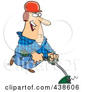 Royalty Free RF Clip Art Illustration Of A Happy Cartoon Landscaper Using A Weed Wacker by toonaday