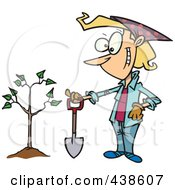 Royalty Free RF Clip Art Illustration Of A Proud Cartoon Woman With A Shovel By A Newly Planted Tree by toonaday