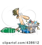 Royalty Free RF Clip Art Illustration Of A Cartoon Man Taking Out A Lot Of Trash by toonaday
