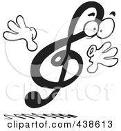 Royalty Free RF Clip Art Illustration Of A Cartoon Black And White Design Of A Treble Clef