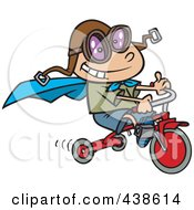 Royalty Free RF Clip Art Illustration Of A Cartoon Boy Wearing A Cape And Goggles While Riding His Trike