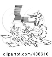 Royalty Free RF Clip Art Illustration Of A Cartoon Black And White Outline Design Of A Businesswoman Buried Under Paperwork