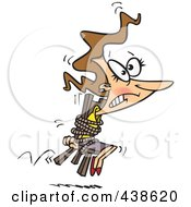 Royalty Free RF Clip Art Illustration Of A Cartoon Businesswoman Tied To A Chair And Working Overtime