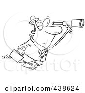 Royalty Free RF Clip Art Illustration Of A Cartoon Black And White Outline Design Of A Businessman Seeking An Opportunity With A Telescope
