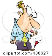 Royalty Free RF Clip Art Illustration Of A Cartoon Businessman With A Dart In His Foot
