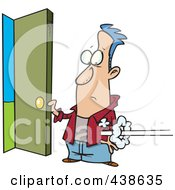 Royalty Free RF Clip Art Illustration Of A Cartoon Man Holding Open A Door As Someone Shoots In by toonaday