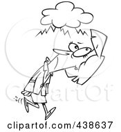 Royalty Free RF Clip Art Illustration Of A Cartoon Black And White Outline Design Of A Businesswoman Walking Under A Stormy Cloud