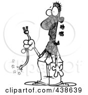Royalty Free RF Clip Art Illustration Of A Cartoon Black And White Outline Design Of A Businessman Holding A Severed Cord by toonaday