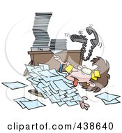 Royalty Free RF Clip Art Illustration Of A Cartoon Businesswoman Buried Under Paperwork