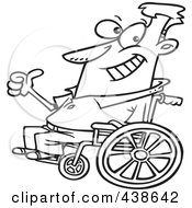 Royalty Free RF Clip Art Illustration Of A Cartoon Black And White Outline Design Of An Optimistic Man In A Wheelchair