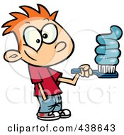 Royalty Free RF Clip Art Illustration Of A Cartoon Boy Going Overboard On Toothpaste by toonaday