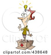 Royalty Free RF Clip Art Illustration Of A Cartoon Businesswoman With An Out Of The Box Idea