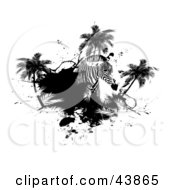 Clipart Illustration Of A Zebra With Palm Trees And Black Grunge by Arena Creative