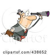 Royalty Free RF Clip Art Illustration Of A Cartoon Businessman Seeking An Opportunity With A Telescope