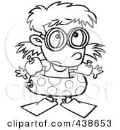 Royalty Free RF Clip Art Illustration Of A Cartoon Black And White Outline Design Of A Summer Girl Over Prepared For Swimming