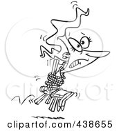Royalty Free RF Clip Art Illustration Of A Cartoon Black And White Outline Design Of A Businesswoman Tied To A Chair And Working Overtime by toonaday