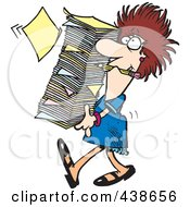 Royalty Free RF Clip Art Illustration Of A Cartoon Businesswoman Carrying A Huge Stack Of Paperwork