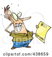 Royalty Free RF Clip Art Illustration Of A Cartoon Man Holding An Extreme Billing Statement