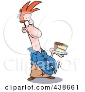 Royalty Free RF Clip Art Illustration Of A Cartoon Man With A Bulging Belly Holding Birthday Cake by toonaday