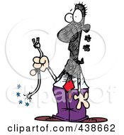 Royalty Free RF Clip Art Illustration Of A Cartoon Businessman Holding A Severed Cord by toonaday